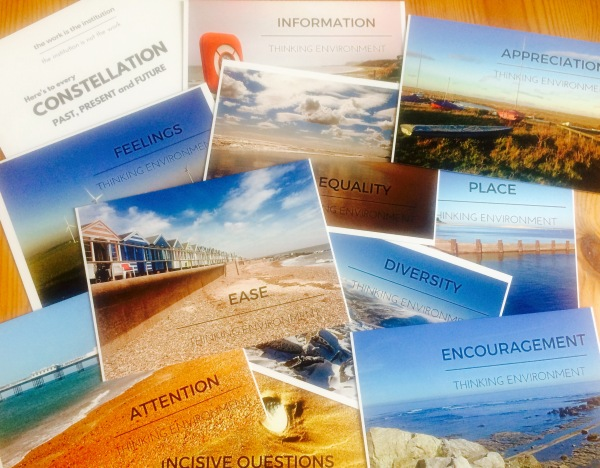 Postcards representing the Ten Components of a Thinking Environment