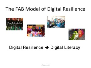 Various images indicating the FAB spectrum - first principles, purpose, support, fluency leading to digital resilience and hence literacy