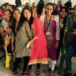 Young women students at a Gujarati University, representing dancing princesses