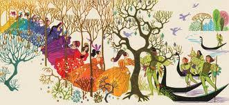 This is an impressionistic image of dancing men and women taken from the story The Twelve Dancing Princesses