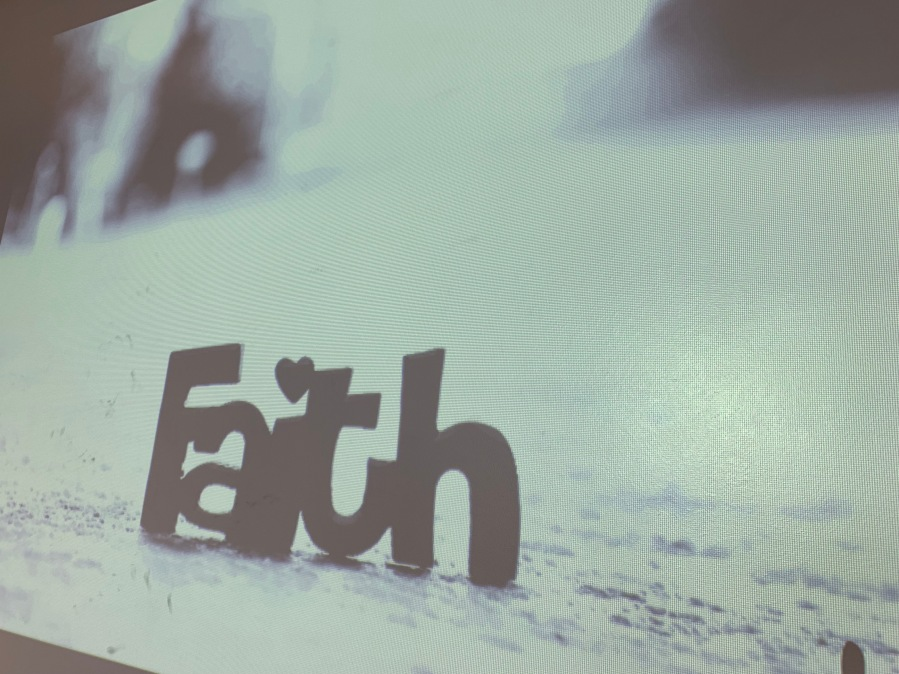 Screen showing the word Faith.   Thank you Simon Justice, Sally Reeve and Gavin Knox from Lincoln College for this image.